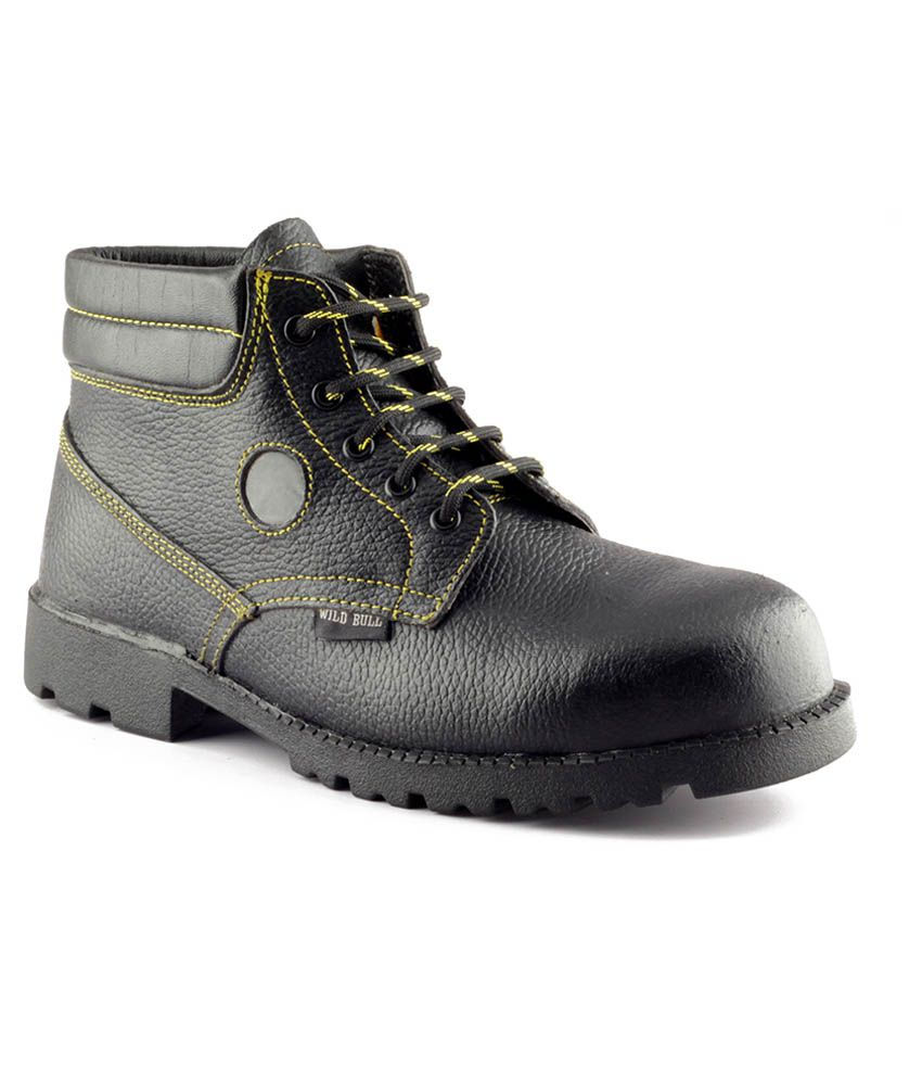 Wild Bull Safety Shoes Black Lace Boots