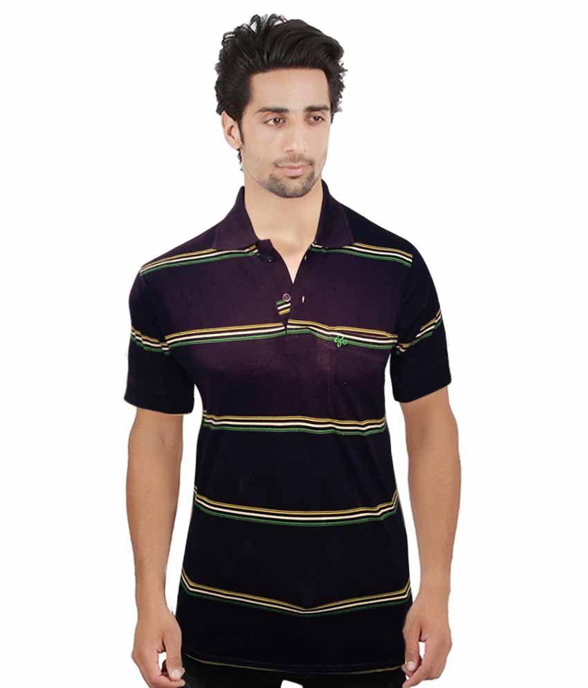 H B Traders Maroon Cotton T-Shirt