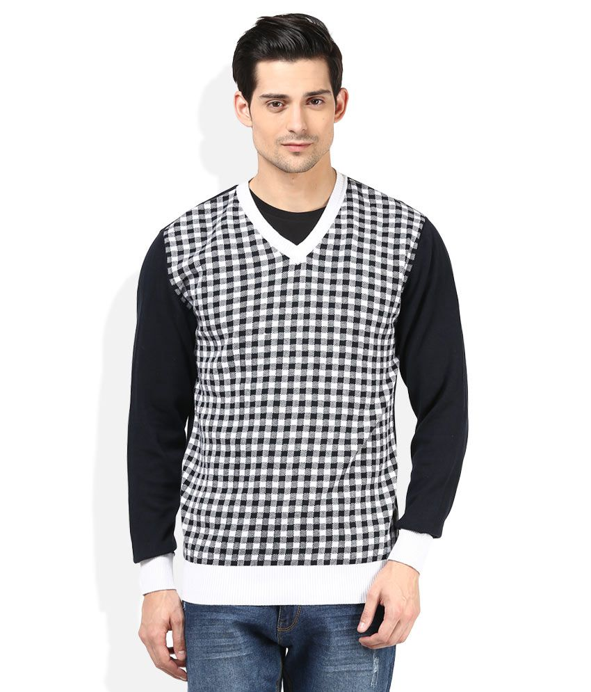 bfee6b7932fd13 John Players Black & White Checked V-Neck Sweater - Buy John Players Black  & White Checked V-Neck Sweater Online at Best Prices in India on Snapdeal