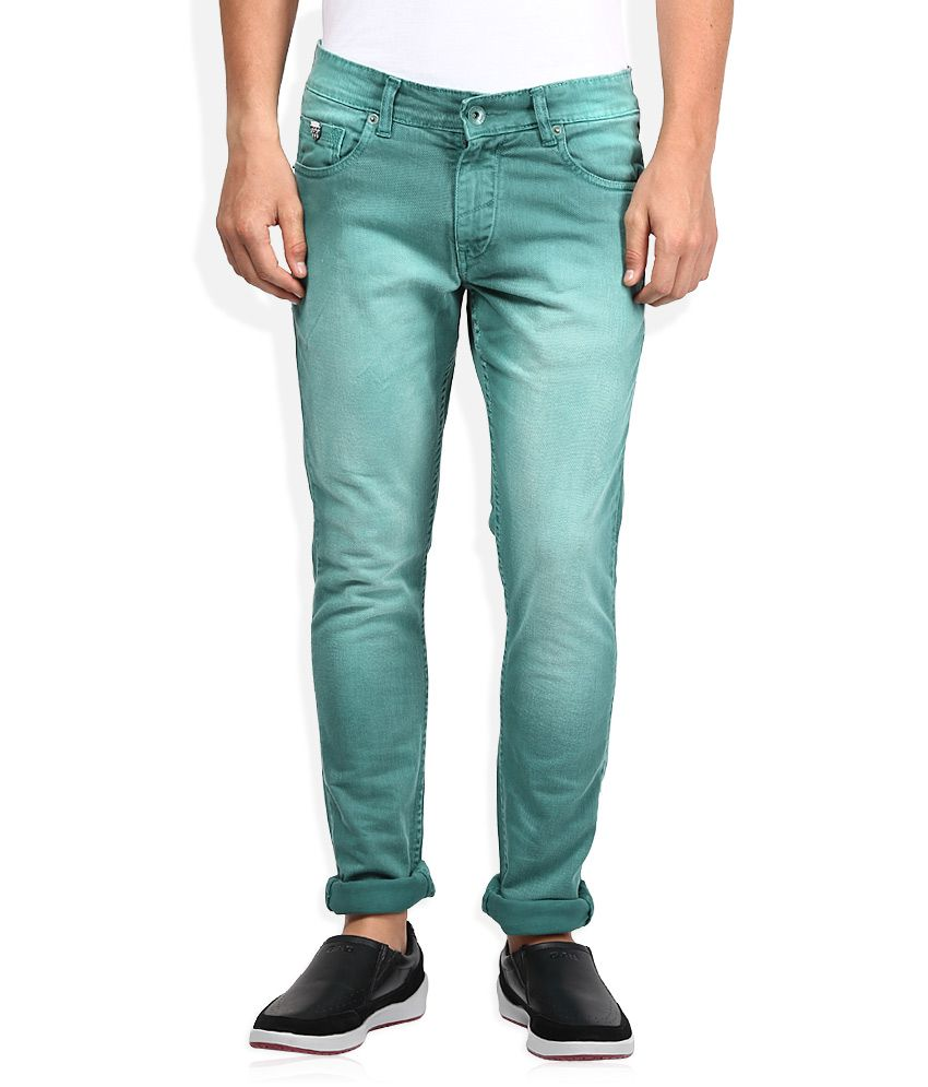 John Players Green Skinny Fit Jeans