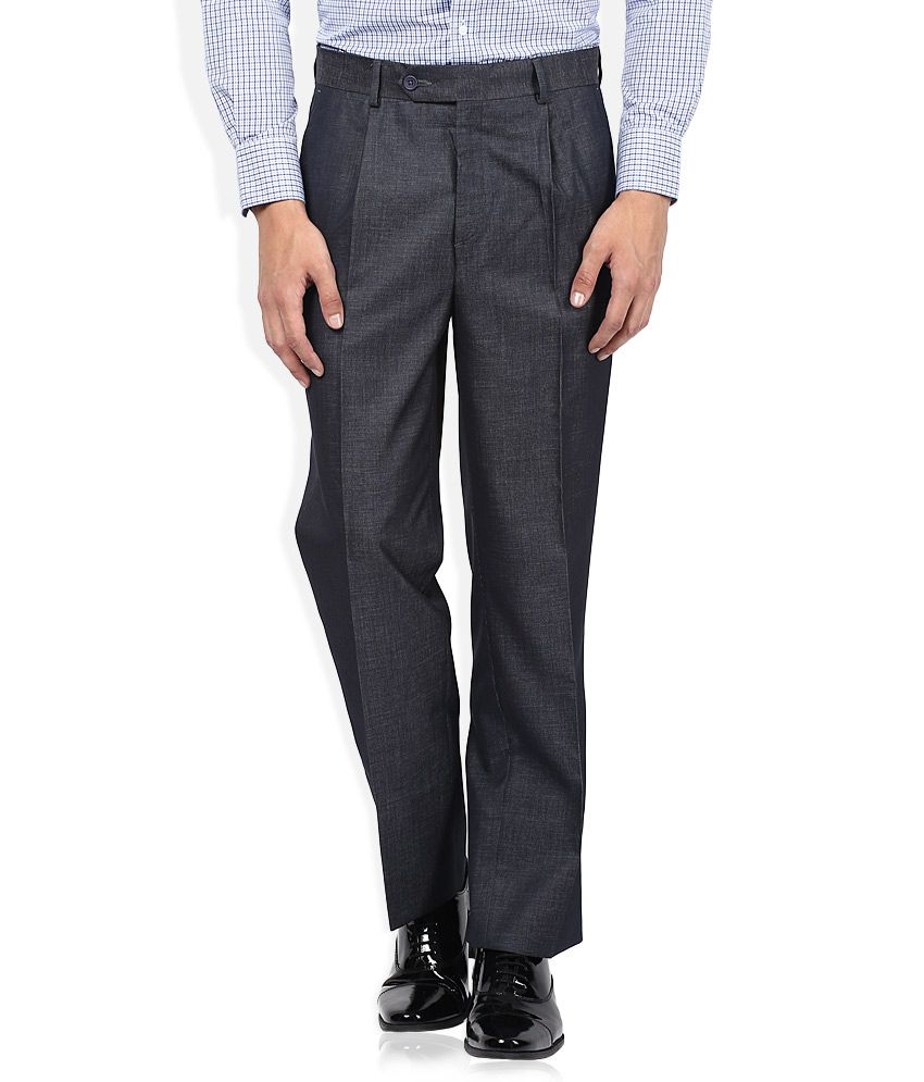 John Players Grey Solid Pleated Front Trousers