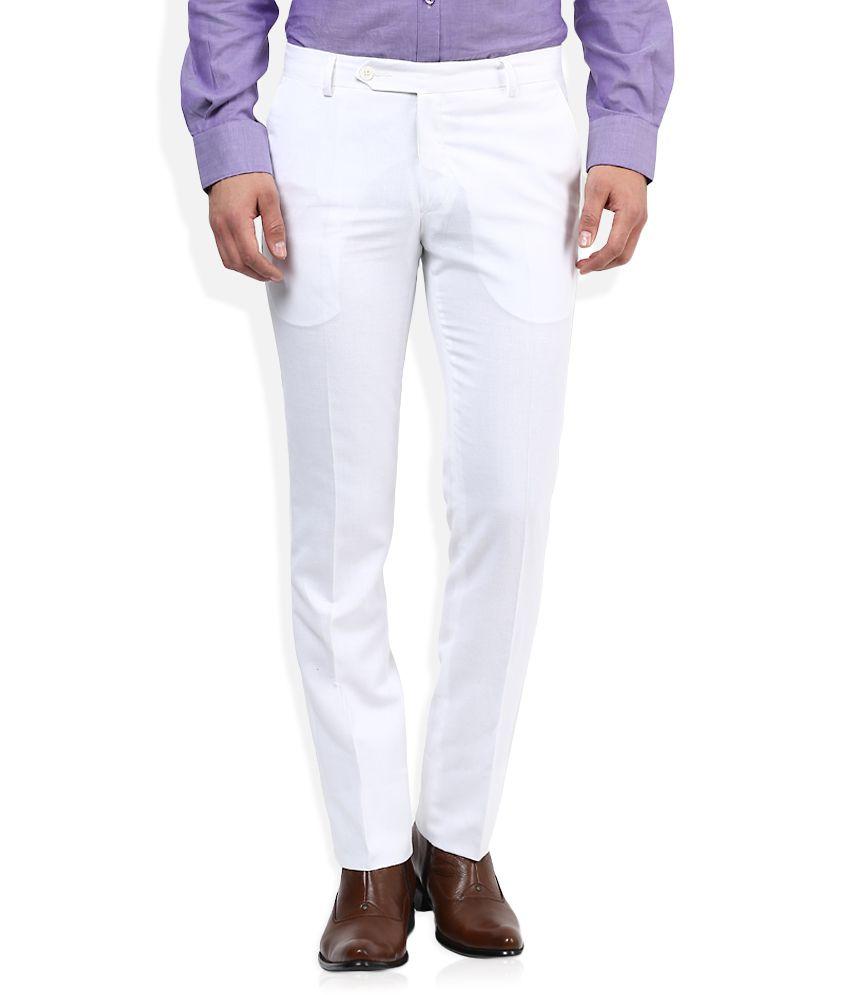 John Players White Slim Flat Trouser