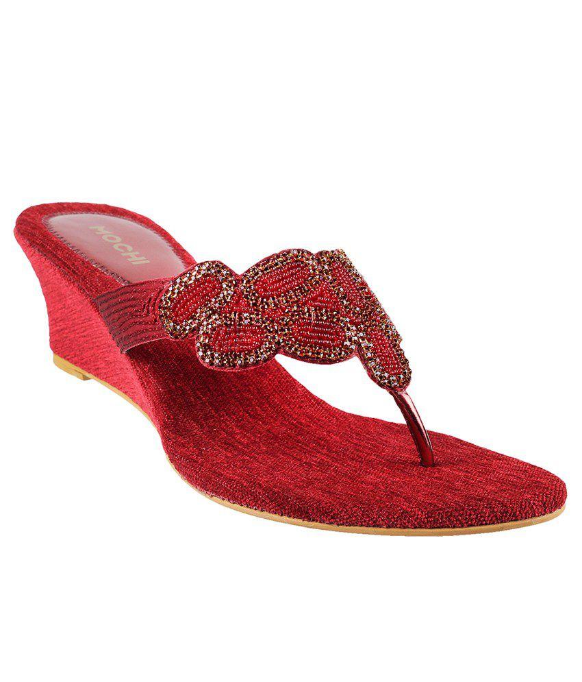 Mochi Red Heeled Slip Ons