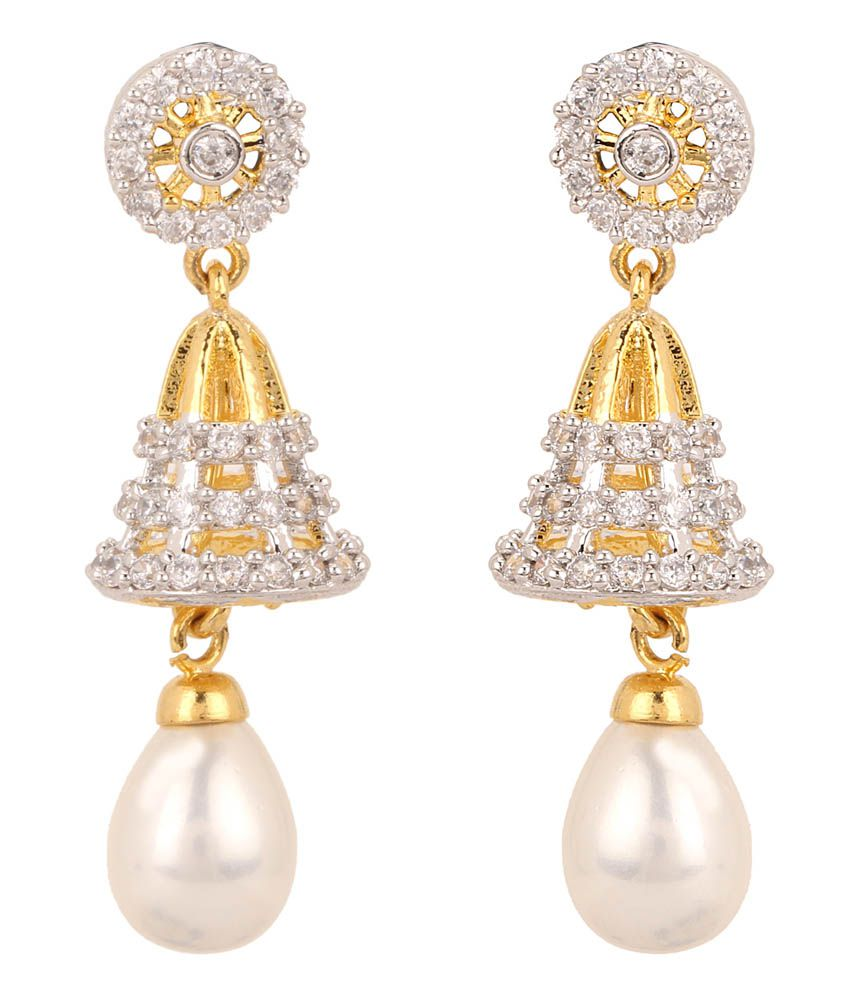 Rajwada Arts Gold Cubic Zirconia Designer Dangle Earrings