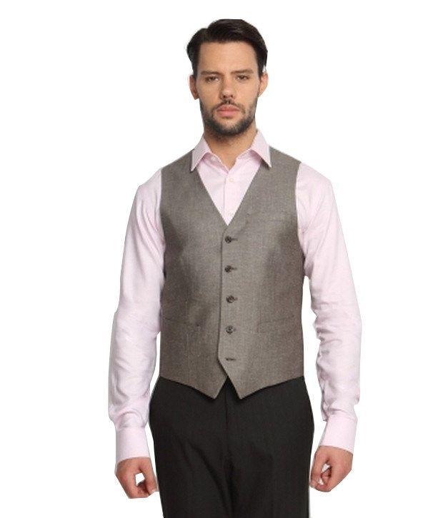 SUITLTD Brown Solid Slim Fit Waistcoat