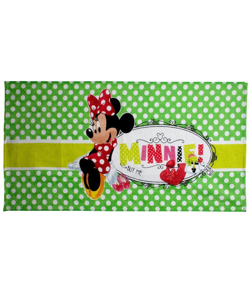 Disney Green & Red Minnie Cotton Bath Towel