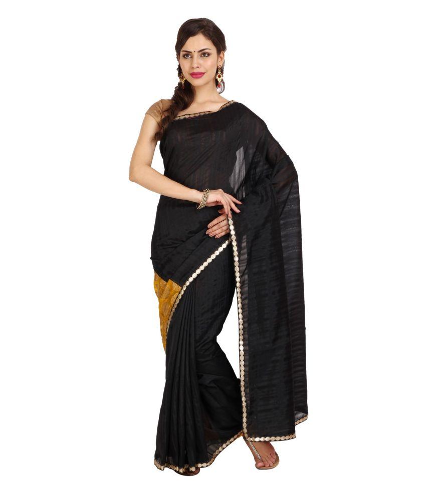 Parchayee Black and Golden Plain Art Silk Saree with Blouse Piece