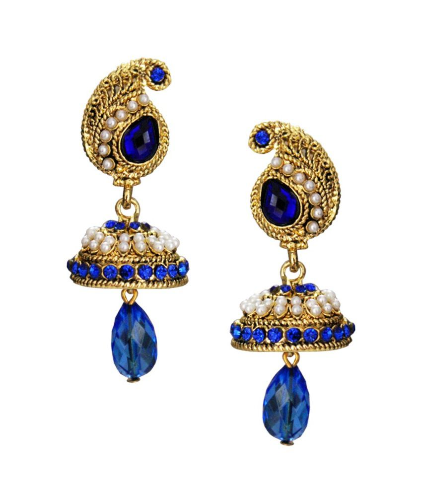 Pihu Traditional Paisley Shape Blue Stone With Pearl Jhumki Earring