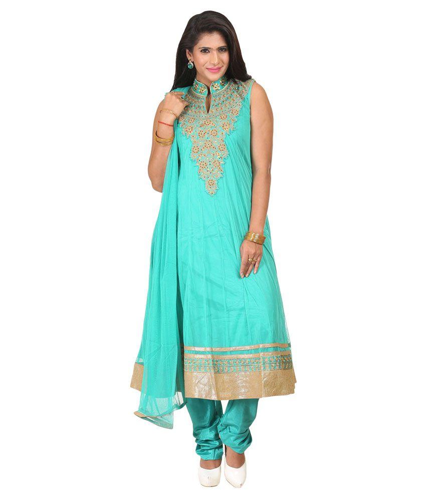 Youvika Turquoise Net Stitched Suit