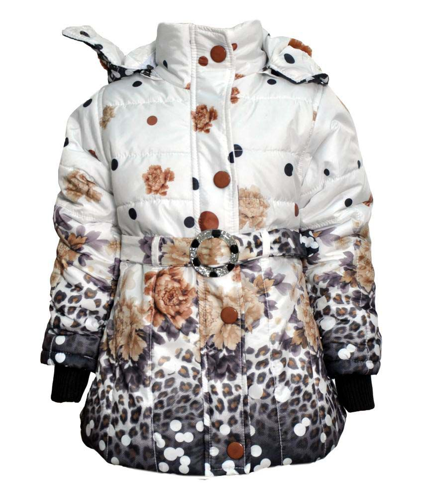 Come In Kids White Acrylic Padded Jacket With Hood