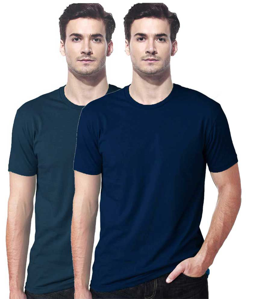 Gallop Blue Cotton T-Shirts- Pack of 2