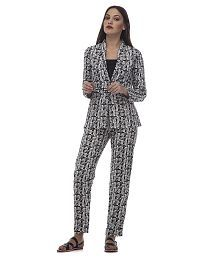 At499 Black Polyester Blend Blazers