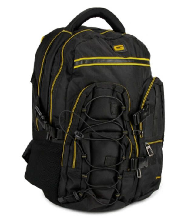 Gear Black & Yellow Polyester Laptop Backpack