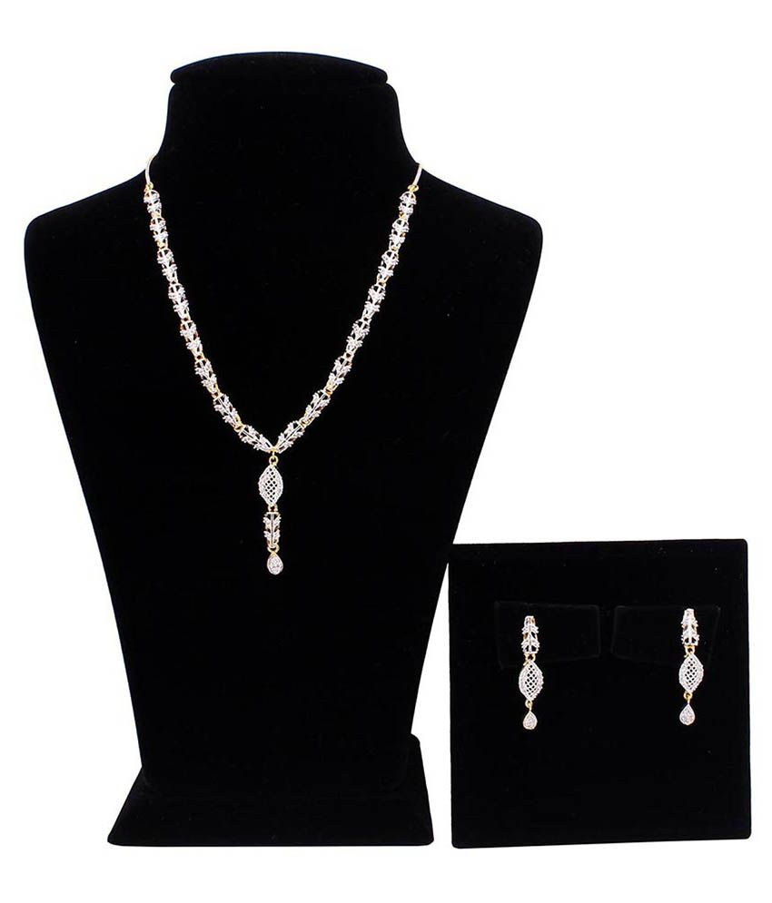 Kanha Art Jewellery Delicate AD Diamond Necklace Set