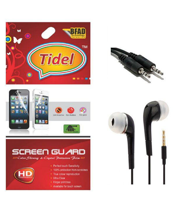Infocus M2 Clear Screen Guard with Earphone And Aux Cable by Tidel