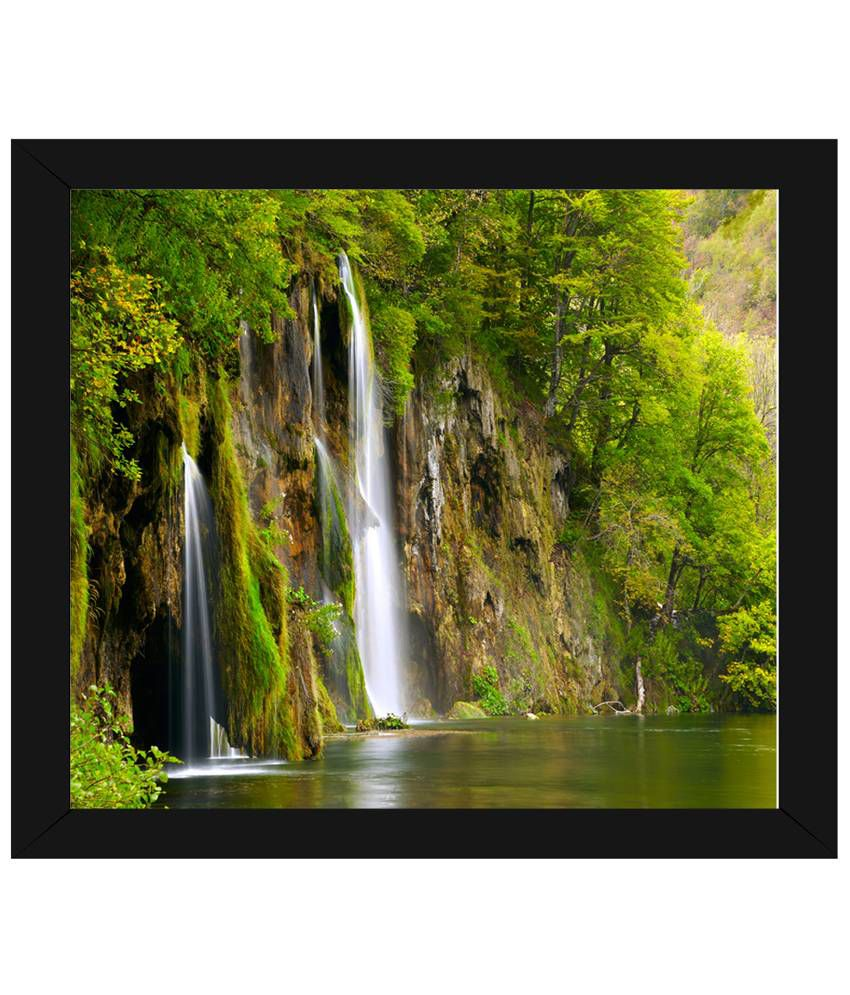 Wow Interiors and Decors Green & Brown Waterfall Wooden Framed Painting