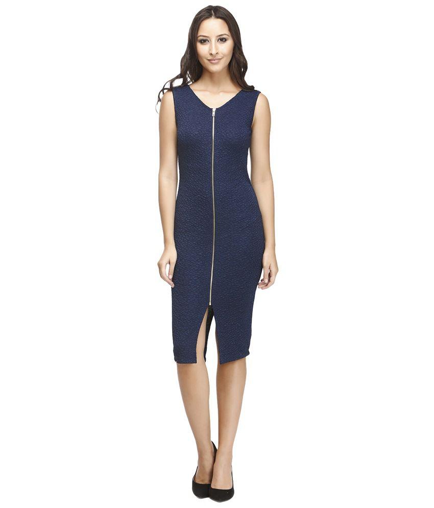 Nineteen Navy Blue Self Designed Polyester Zippered Bodycon Dress
