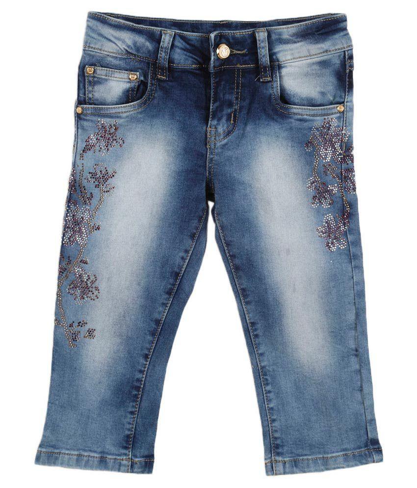 Lilliput Blue Cotton Spandex Capri
