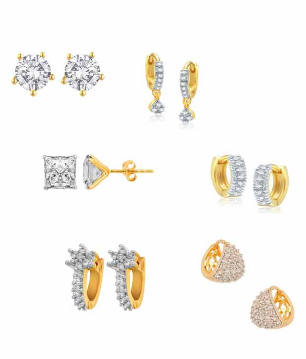Jewels Gold Golden Alloy American Diamonds Floral Earrings Combo - Combo Of 6