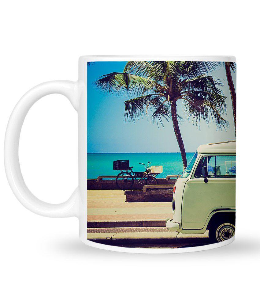 Mozine White Terracotta Holiday Calling Customized Printed Mug