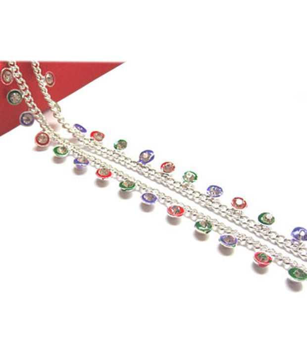 Paras Abhushan multicolour full stone super Alloy Payal/Anklet