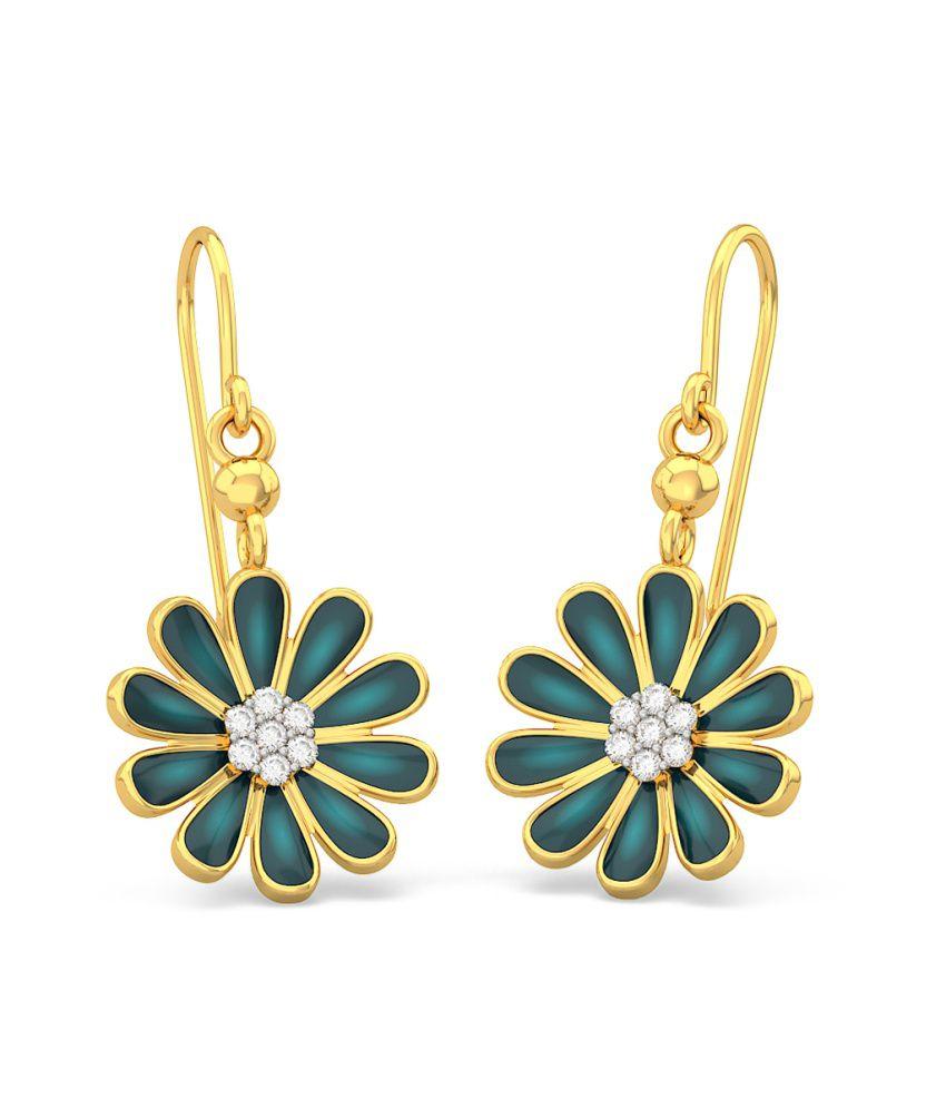 BlueStone 18kt Yellow Gold Diamond Midnight Blossom Earrings