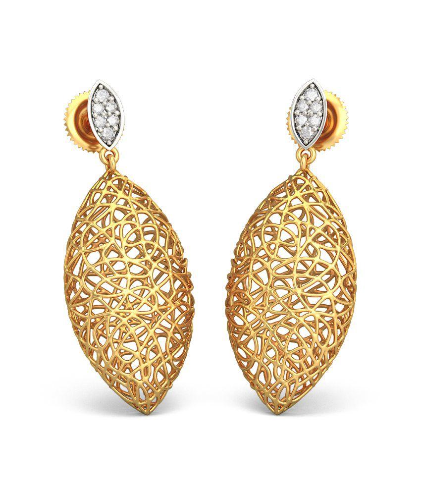 Bluestone 18kt Yellow Gold Diamond Ooid Lattice Earrings