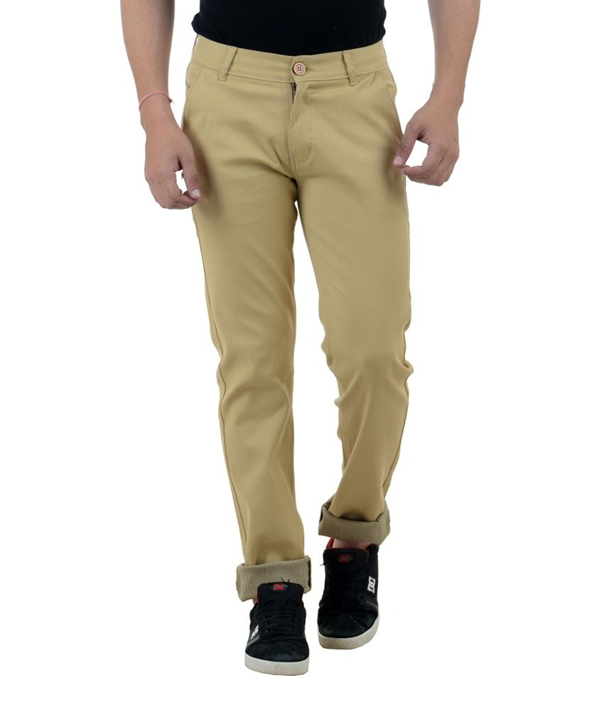 FBM Brown Slim Fit Casual Trouser