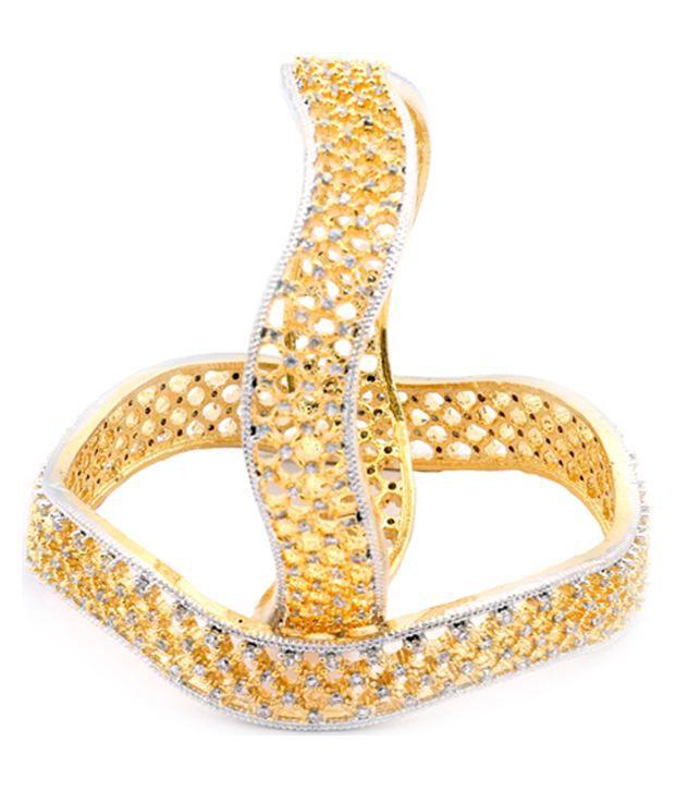 Waama Jewels Golden Alloy Designer Bangle Set