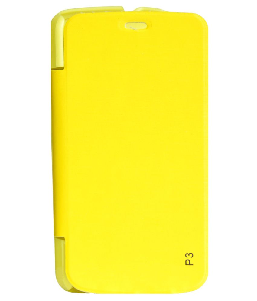 Ars Flip Cover For Gionee Pioneer P3   Yellow available at SnapDeal for Rs.225