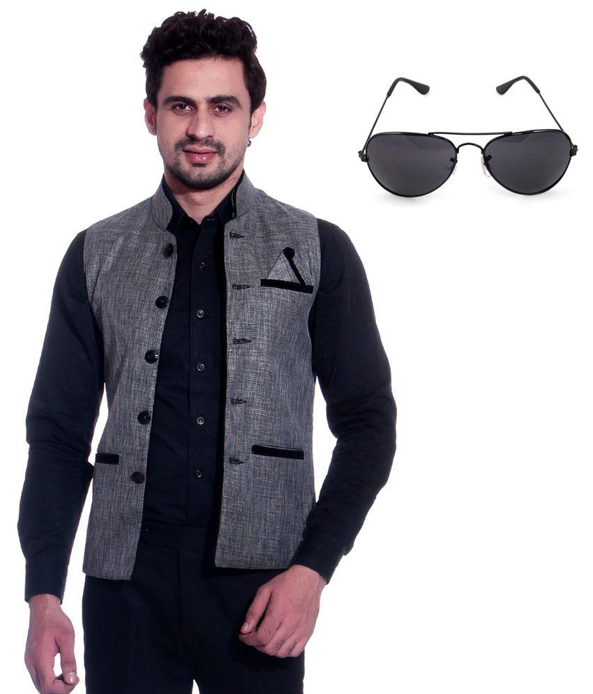 Calibro Grey Sleeveless Nehru Jacket with Sunglasses Combo
