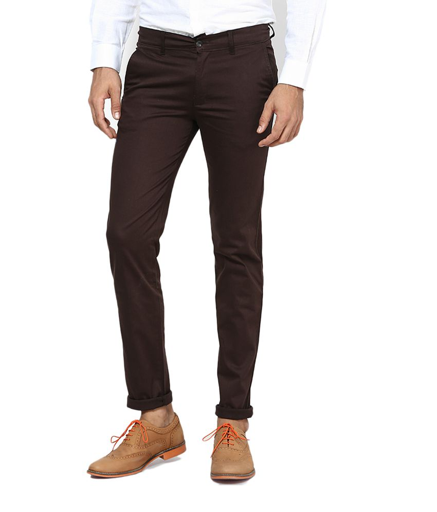 Kk Enterprises Brown Slim Fit Casual Chino