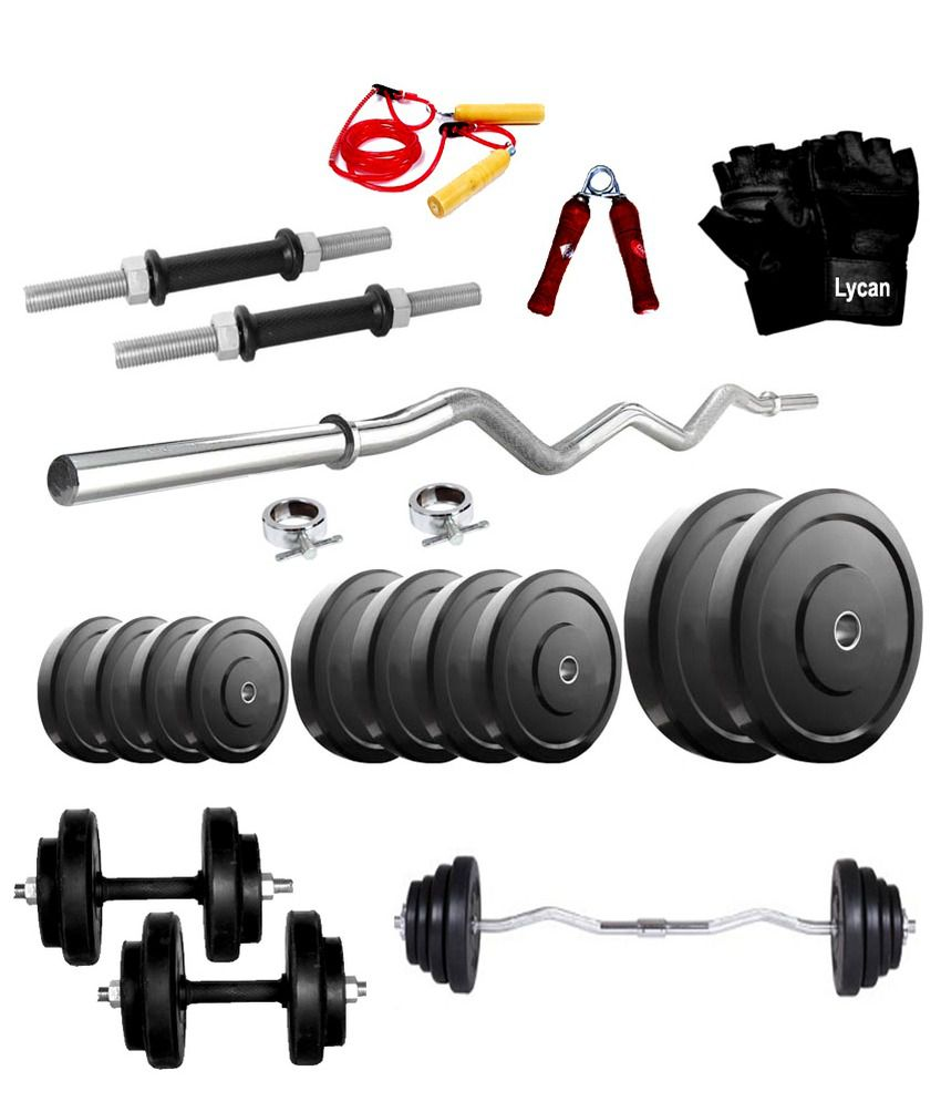 Dumbbell Set Mr Price Sport: Lycan Home Gym 8 Kg Rubber Weight + 3 Feet Curl Rod