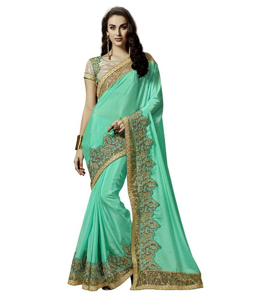 Resham Fabrics Green Chiffon Saree