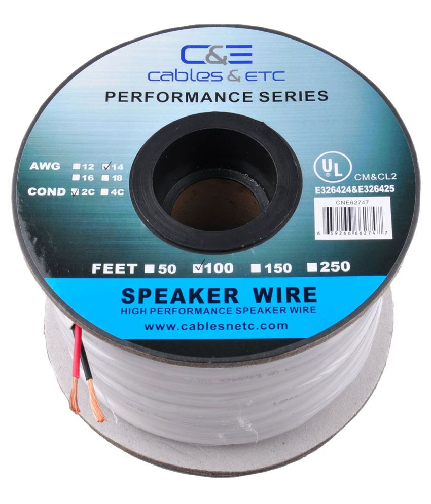 Buy C&E 100 Feet 14AWG CL2 Rated 2-Conductor Loud Speaker Cable (For ...