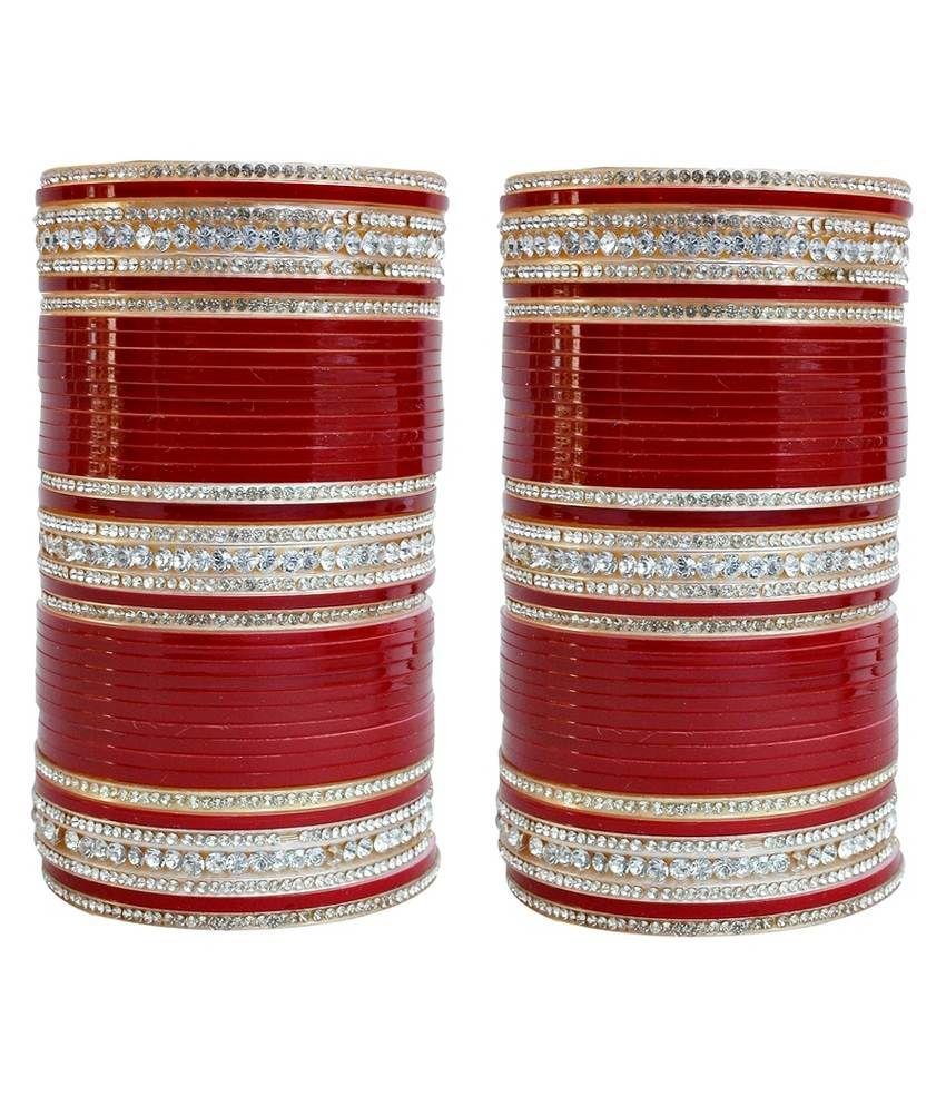 Lucky Jewellery Maroon Acrylic Bridal Chuda Set Of 2