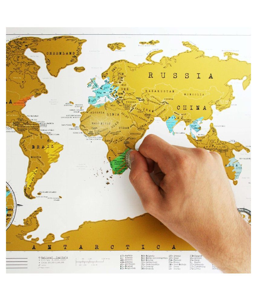 Urban Living Brown World Scratch Map Poster Buy Urban Living Brown