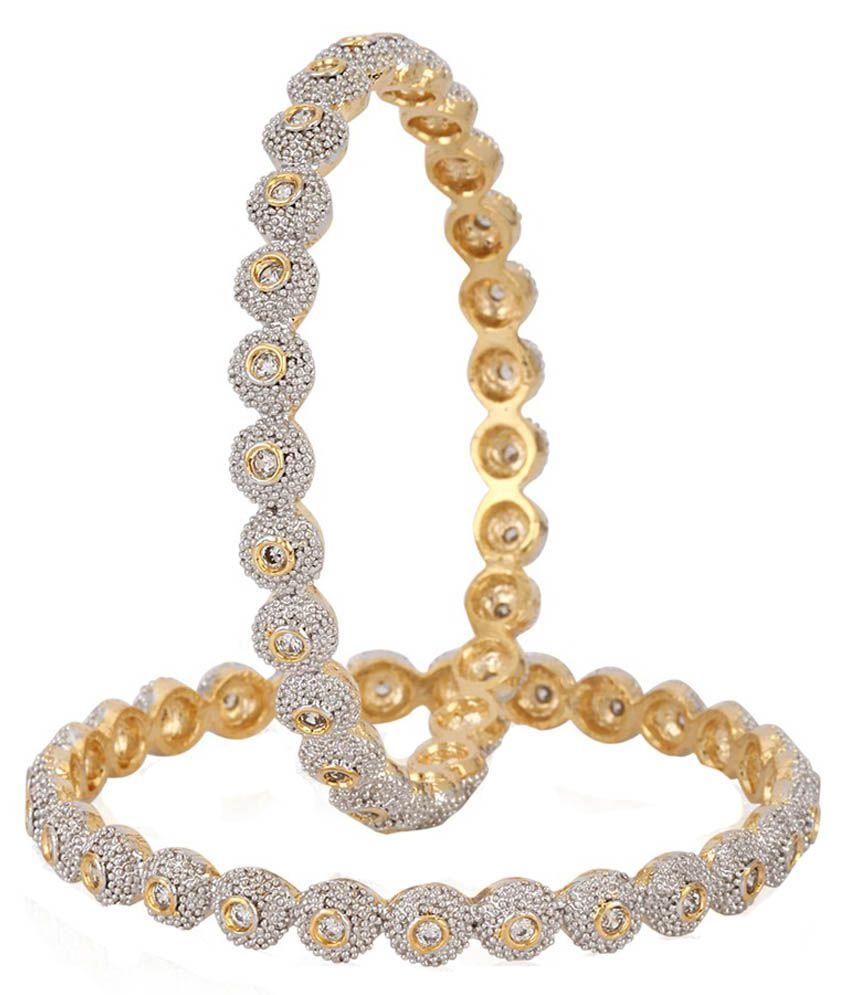 Renaissance Traders Golden American Diamond Bangle Set