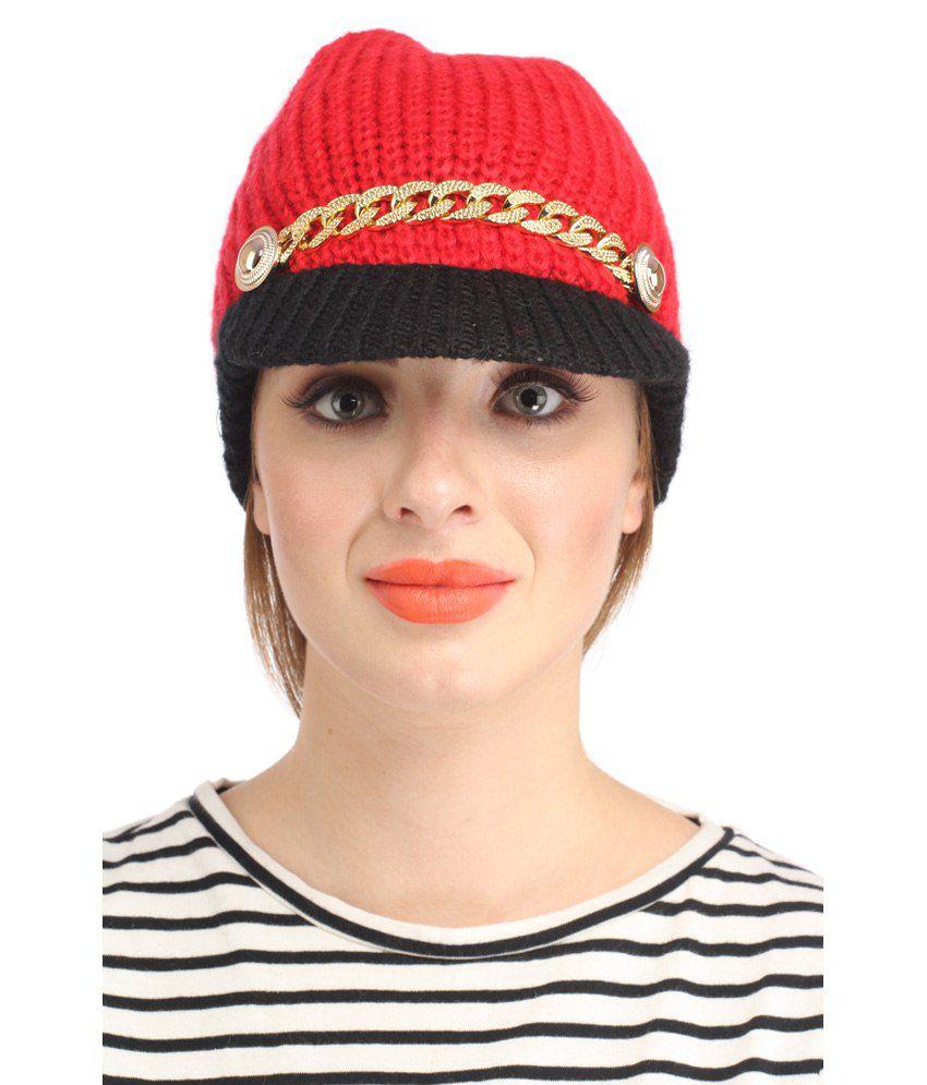 Solly Red & Black Woolen Cap For Women