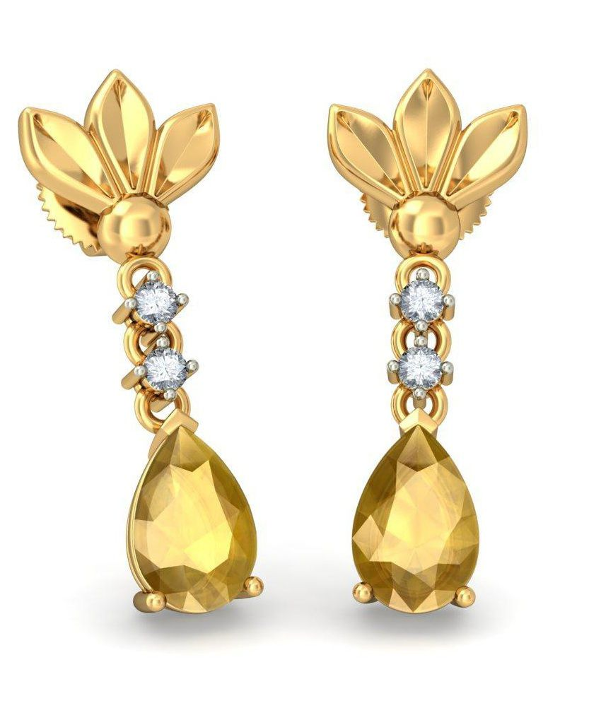 BlueStone 14 Kt Yellow Gold, Citrine & Diamond Picture Perfect Drop Earrings