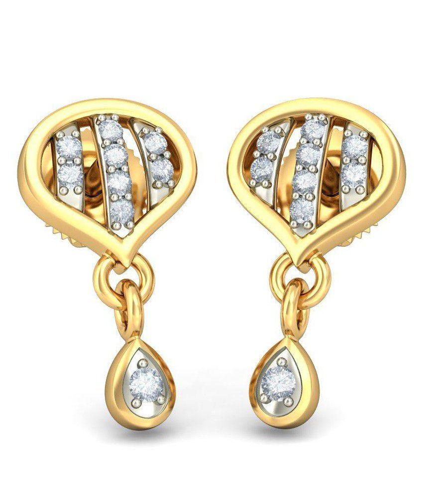 BlueStone 14 Kt Yellow Gold & Diamond Amirana Drop Earrings