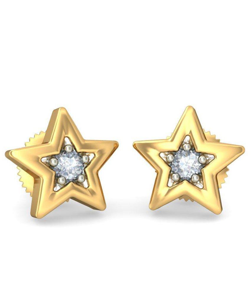 BlueStone 14 Kt Yellow Gold & Diamond Wishing Star Stud Earrings For Kids