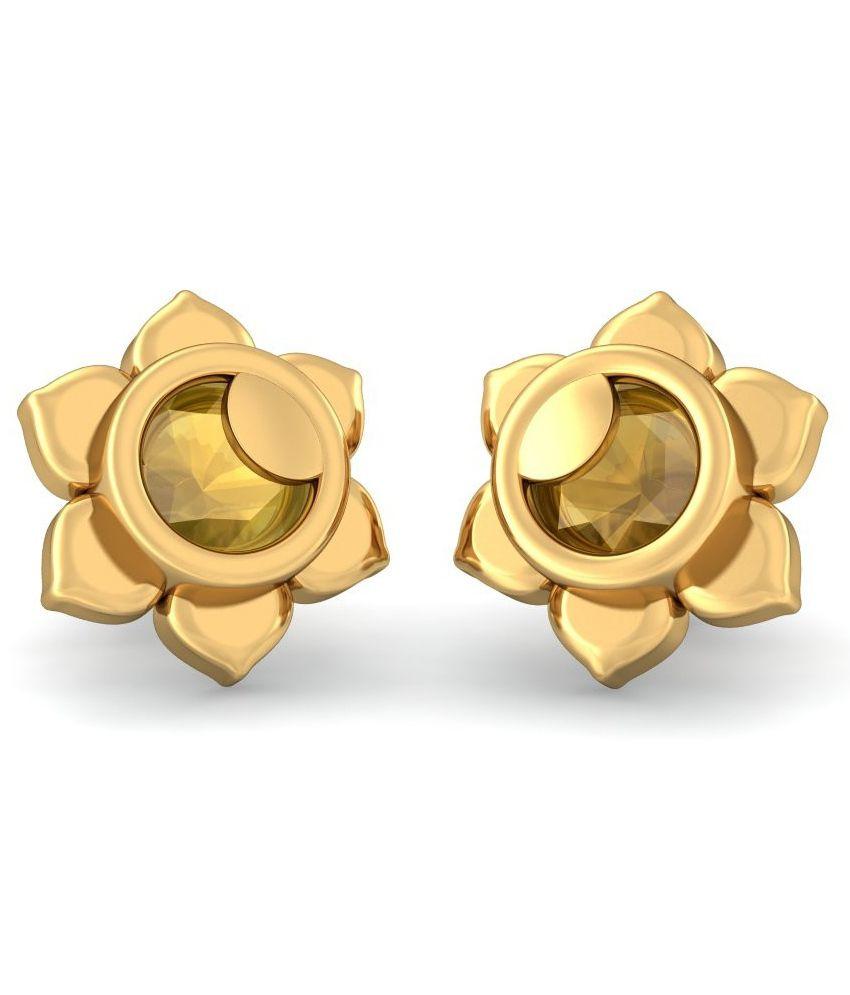 BlueStone 18 Kt Yellow Gold & Citrine Solar Plexus Chakra Stud Earrings