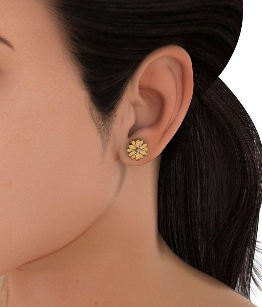 Bluestone 18 Kt Yellow Gold & Diamond Teasing Flora Stud Earrings