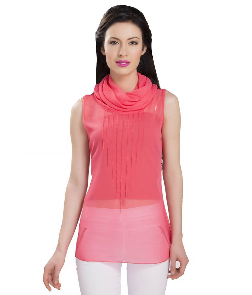 0f365b5c036a4 Ishin Pink Poly Georgette Tops Price in India