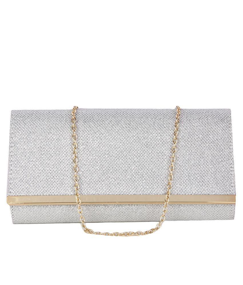Lino Perros Silver Small Casual Women Clutch