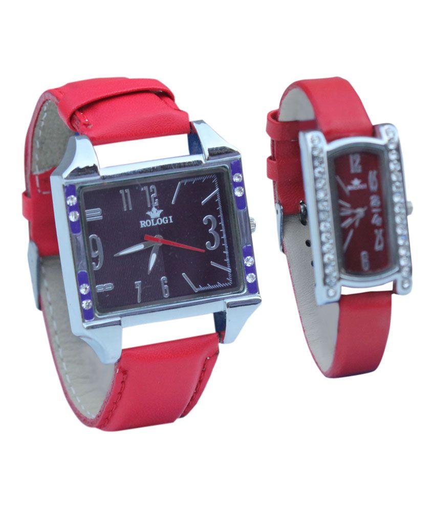 Rology Black Analog Couple Watch