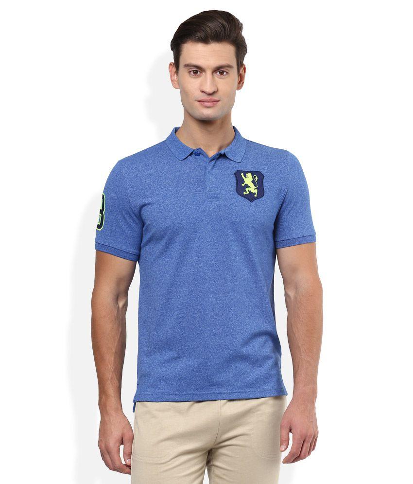 f40bb6e59 Giordano Blue Solid Polo T Shirt Price in India | Buy Giordano Blue Solid  Polo T Shirt Online - Gludo.com