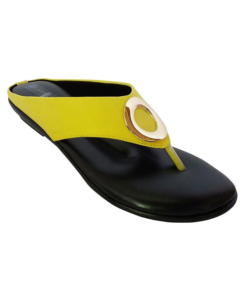 Glameous Yellow & Golden Slip Ons
