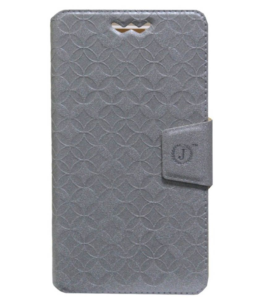 Jo Jo Flip Cover For Intex Aqua Star II - Silver
